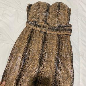 Strapless snake skin print dress